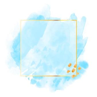 Aquarela azul pastel com moldura dourada