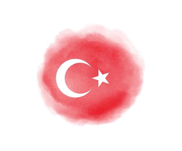 Aquarela bandeira da turquia