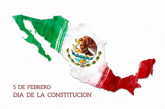 Aquarela bandeira dia da constituição do méxico