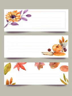 Aquarela, banners, outono conjunto de flores