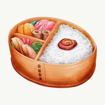 Aquarela bento lancheira japonesa