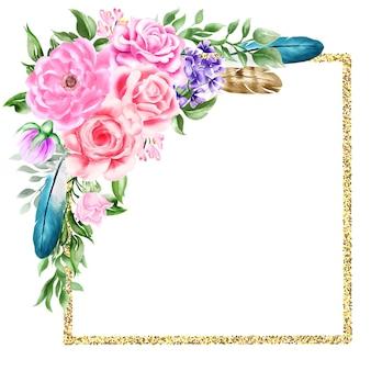 Aquarela boho natural flor floral fronteira de quadro de penas