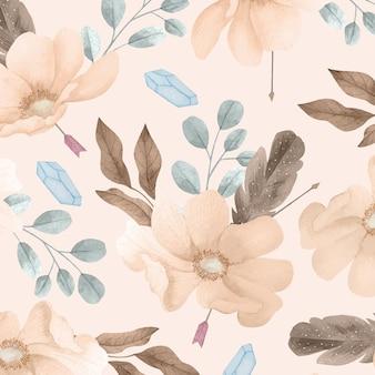 Aquarela boho padrão floral