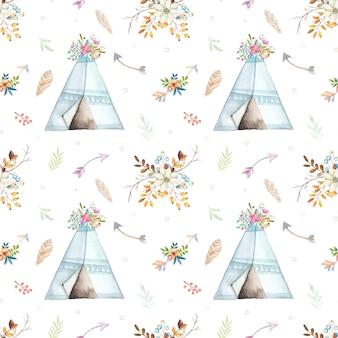 Aquarela boho tenda padrão