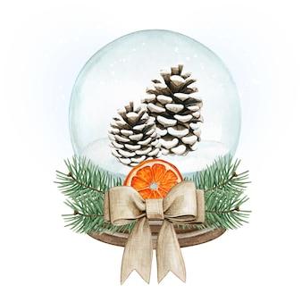 Aquarela bola de neve de alta qualidade com pinhas, arco de juta e laranja seca