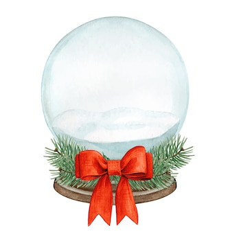 Aquarela bola de neve de cristal vazia com laço vermelho