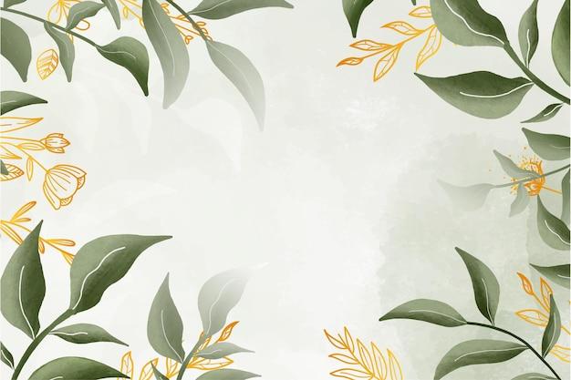 Aquarela bonita moldura floral com fundo aquarela