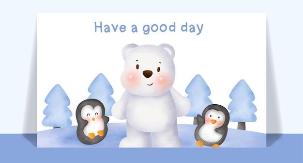 Aquarela bonita polar e amigos em cartão de floresta de neve.