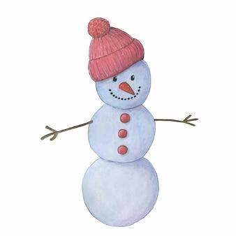 Aquarela bonito boneco de neve com um chapéu de malha vermelho. ilustração de natal