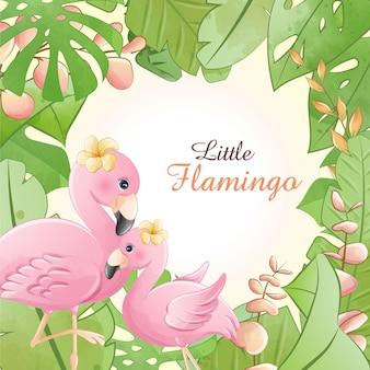 Aquarela bonito desenho animado pequeno flamingo com flores