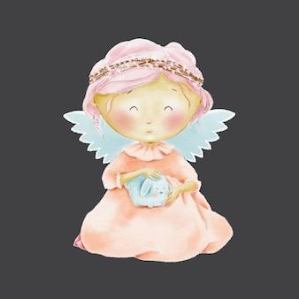 Aquarela bonito dos desenhos animados anjo com animalzinho
