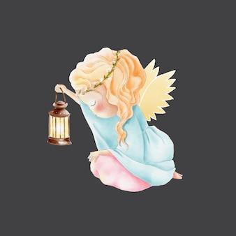 Aquarela bonito dos desenhos animados anjo com lâmpada