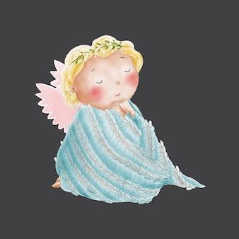 Aquarela bonito dos desenhos animados anjo na manta de malha