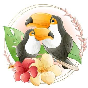 Aquarela bonito dos desenhos animados tucano com flores