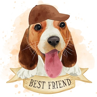 Aquarela bonito filhote de cachorro beagle