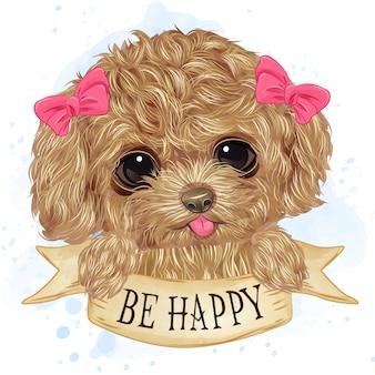 Aquarela bonito poodle toy