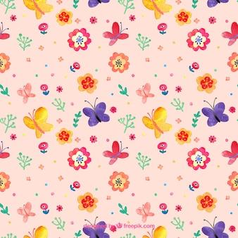 Aquarela borboletas e flores padrão