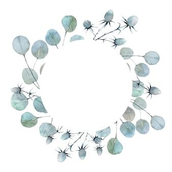 Aquarela borda redonda com folhas de eucalipto