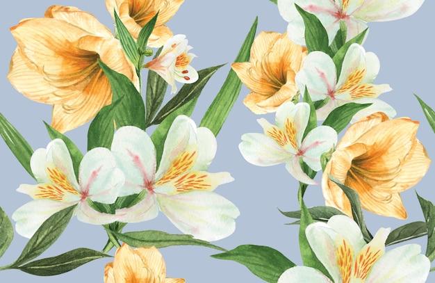 Aquarela botânica da flor do teste padrão, cartão dos obrigados, ilustração da cópia de matéria têxtil