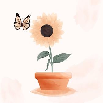 Aquarela botânica de girassóis e borboleta.