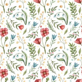 Aquarela botânica padrão sem emenda. ilustração de azul, vermelho, flores (sinos, papoilas, bagas, folhas verdes, galhos)
