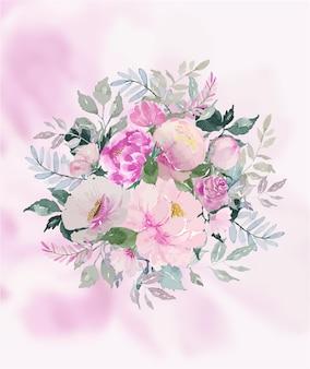Aquarela bouquet de flores rosa suave e folhas verdes com fundo de pétalas rosa suave