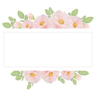 Aquarela bouquet de rosa rosa em moldura quadrada