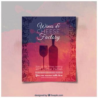 Aquarela brochura vinho e esboços