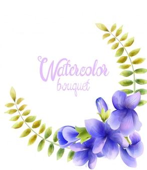 Aquarela buquê de flores da orquídea