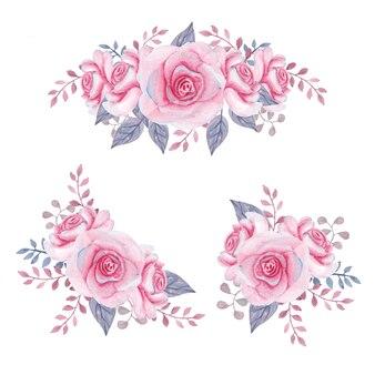 Aquarela buquê de rosas mindinho