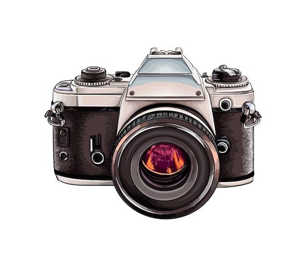 Aquarela câmera retro em branco