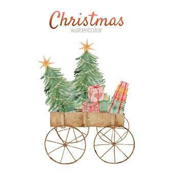 Aquarela cartão carruagem de natal
