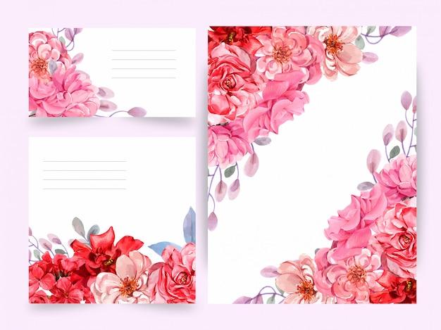 Aquarela, cartão de casamento, cartão de felicitações, conjunto de flores