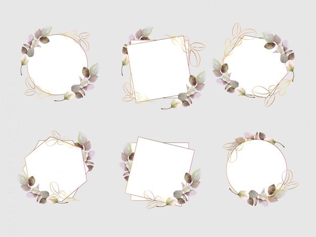 Aquarela, cartão de casamento, cartão de felicitações, conjunto de outono