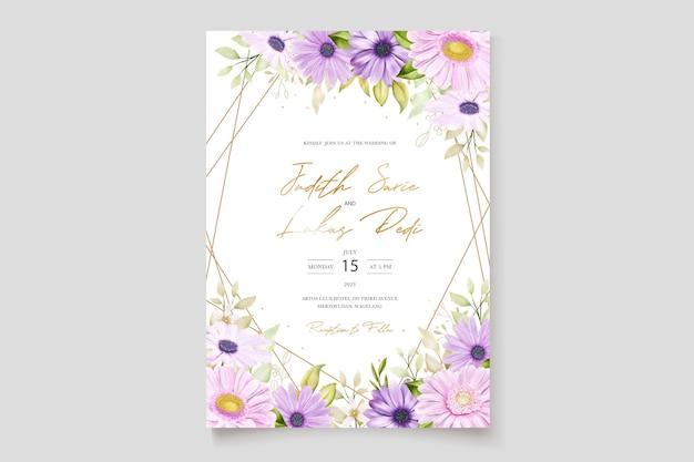 Aquarela cartão de casamento crisântemo
