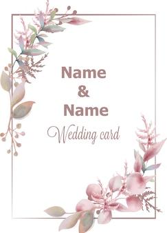 Aquarela cartão de casamento
