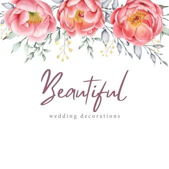 Aquarela cartão floral e modelo de convite