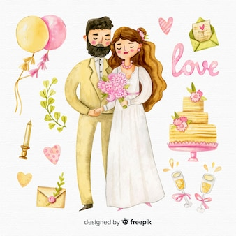 Aquarela casal de noivos com ornamentos
