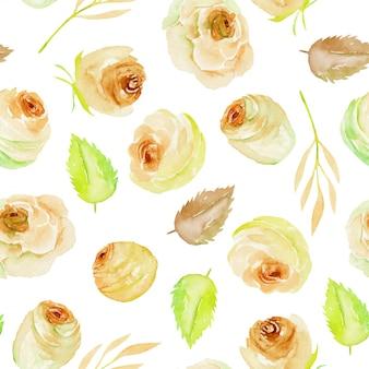 Aquarela chá rosas e folhas sem costura padrão