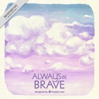 Aquarela citações inspiradores com nuvens