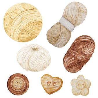 Aquarela clip art hobby ilustração de tricô e crochê