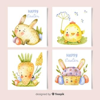 Aquarela coleção de cartão de dia de páscoa