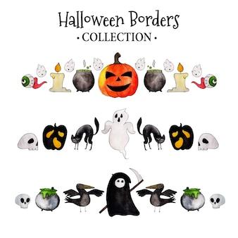 Aquarela coleção de fronteiras de halloween