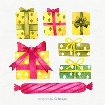 Aquarela colorida coleção de caixas de presente de natal