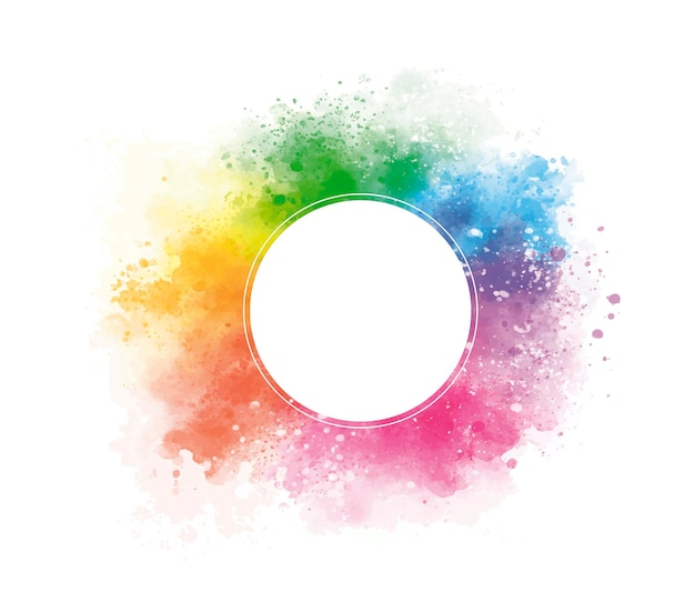 Aquarela colorida com um círculo em branco na ilustração vetorial de fundo branco