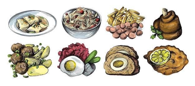 Aquarela colorida conjunto de ilustrações desenhadas de cozinha alemã.