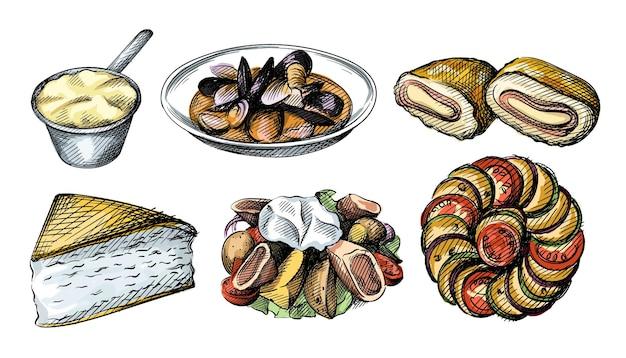 Aquarela colorida conjunto de ilustrações desenhadas de cozinha francesa.