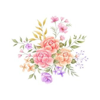 Aquarela colorido buquê de flores desenhado à mão