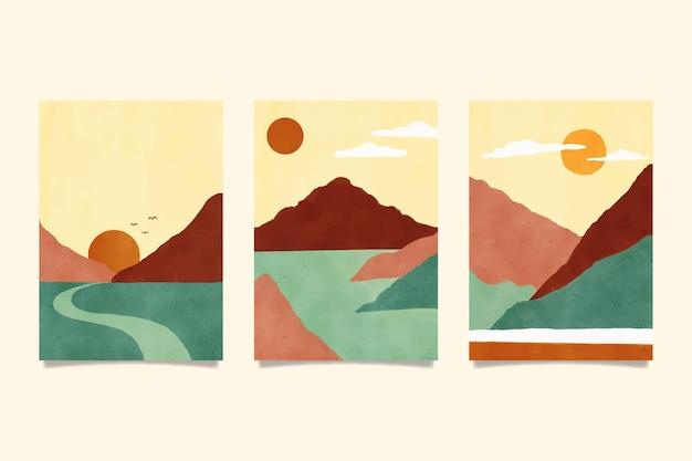Aquarela com cobertura de paisagem mínima