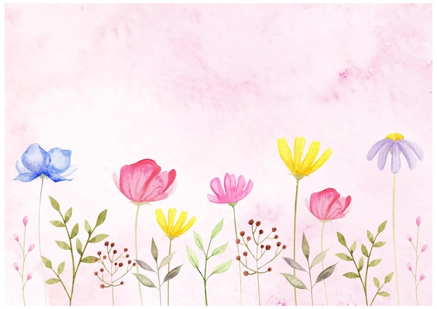 Aquarela com flores